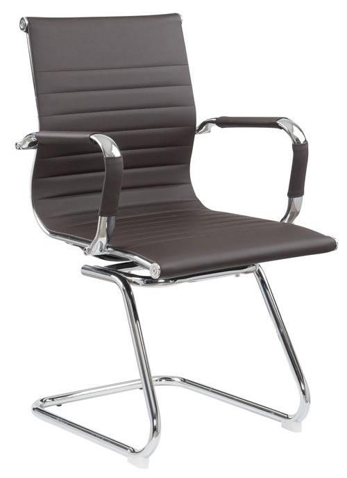 Cadeira Eames Diretor Fixa Cromada – Café