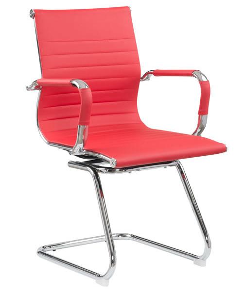 Cadeira Eames Diretor Fixa Cromada – Vermelha