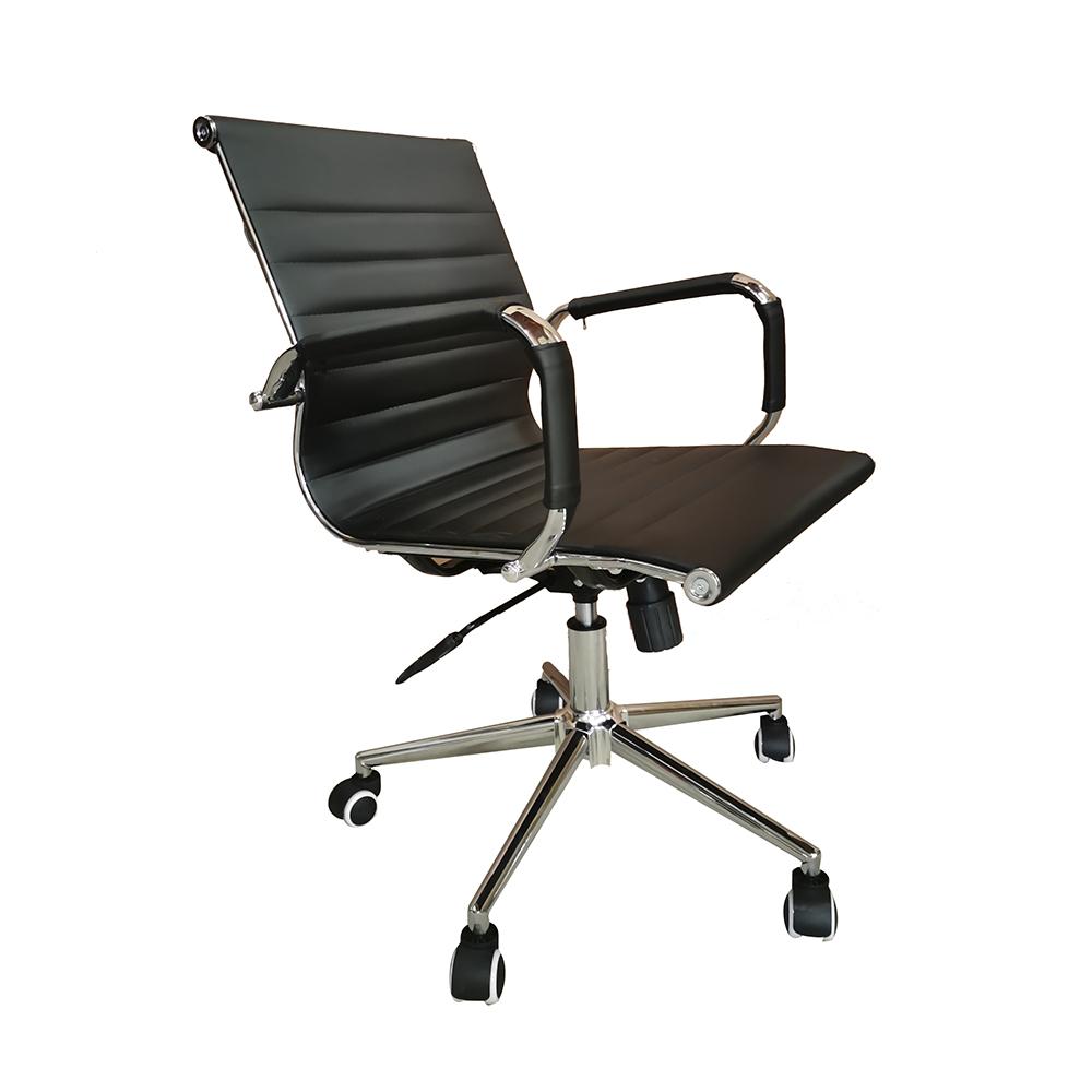 Cadeira Eames Diretor Base Giratória Cromada – Preto