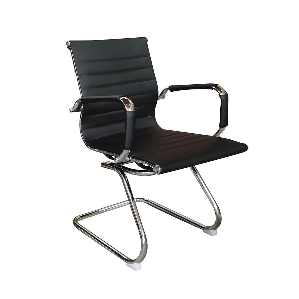 Cadeira Eames Diretor Fixa Cromada – Preta