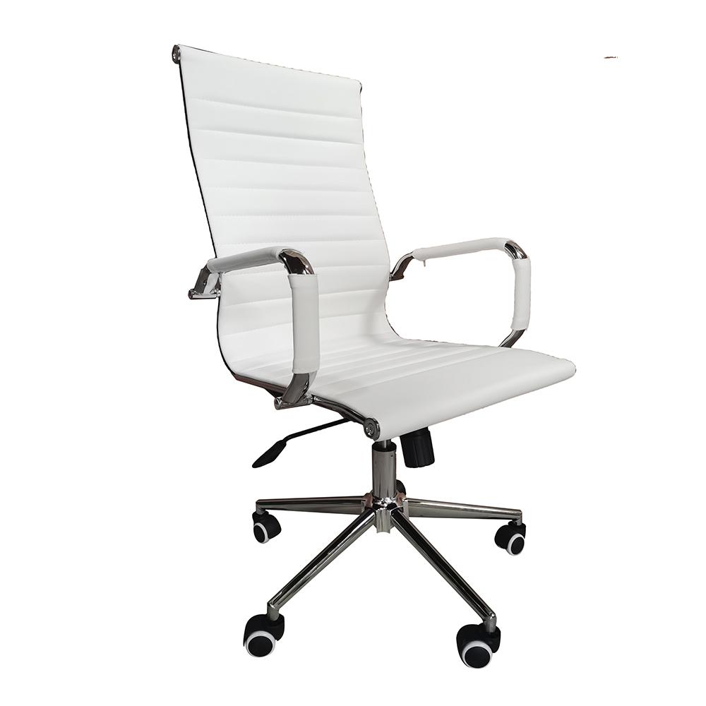 Cadeira Presidente Eames Office Cromada – Lisa Branca