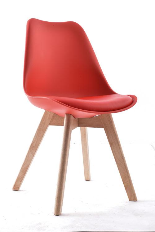 Cadeira Eames 4 Pés Em Madeira – Assento Estofado