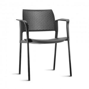Cadeira em Polipropileno Kyos Base Fixa Preta Com Braço – Cores