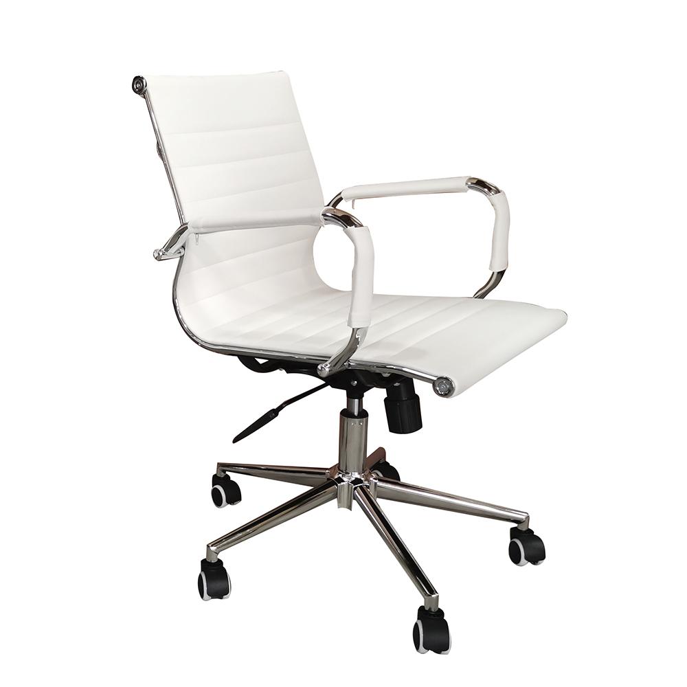 Cadeira Eames Diretor Base Giratória Cromada – Branca