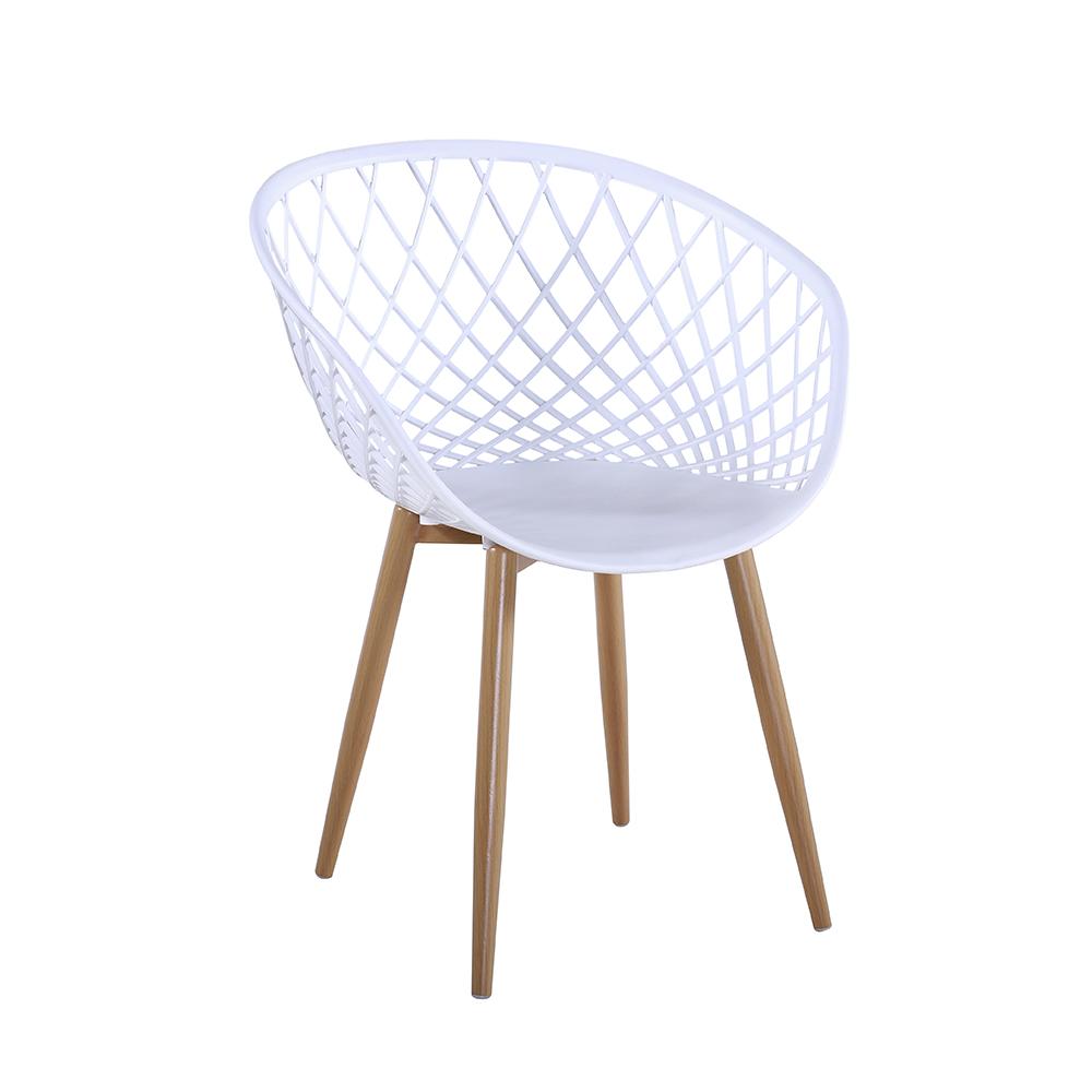 Cadeira Decorativa Web Furadinha Pé de Madeira Branca