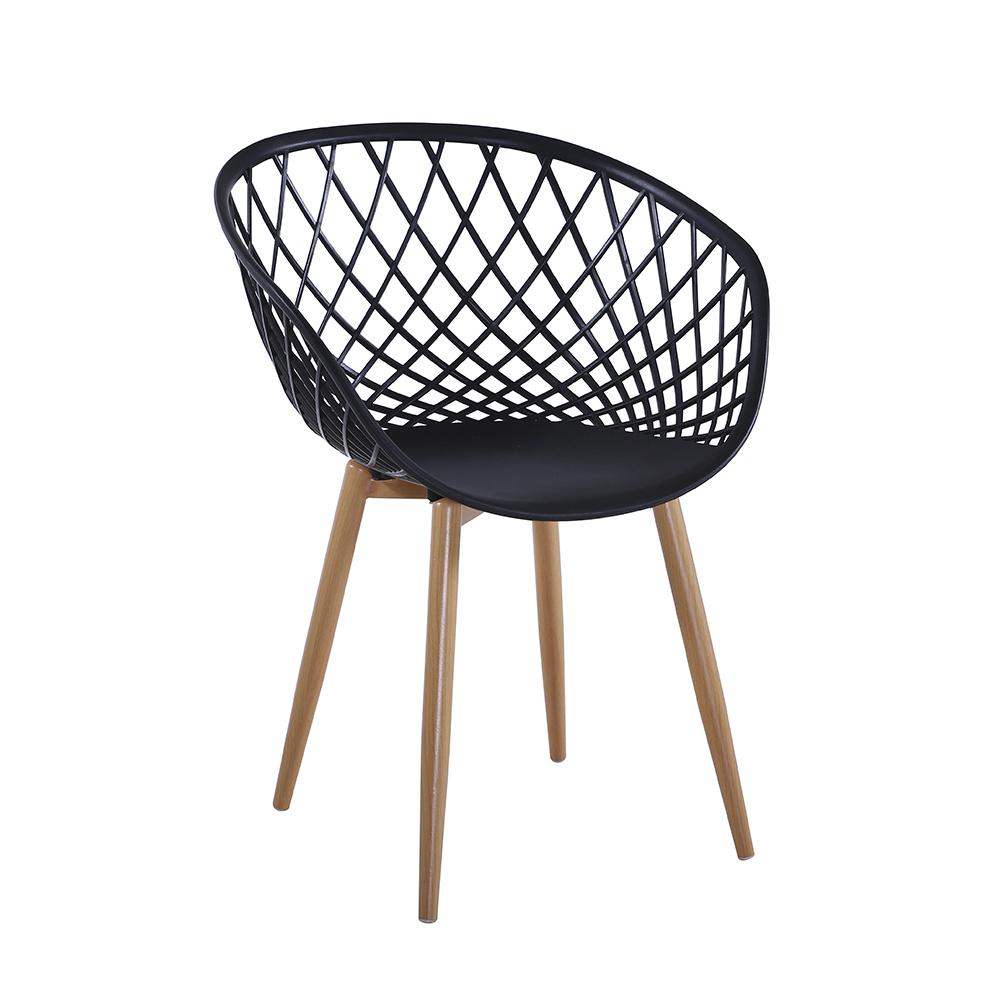 Cadeira Decorativa Web Furadinha Pé de Madeira Preta